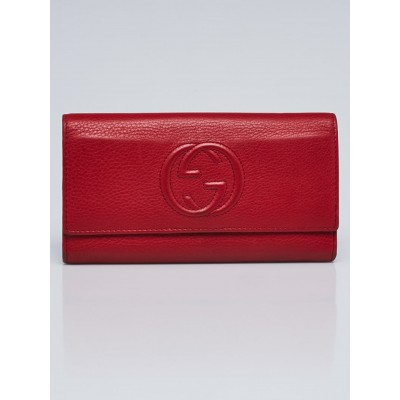 Gucci Red Pebbled Leather Soho Continental Wallet