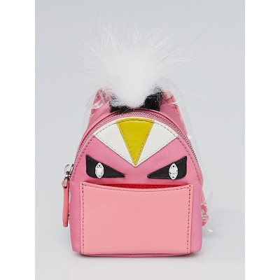 Fendi Pink Backpack Monster Eyes Fur Key Chain and Bag Charm