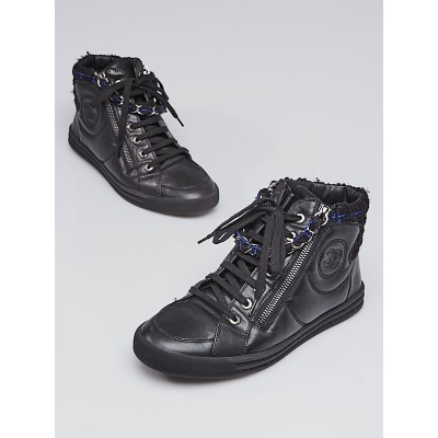 Chanel Black Leather and Tweed High Top Sneakers Size 6.5/37