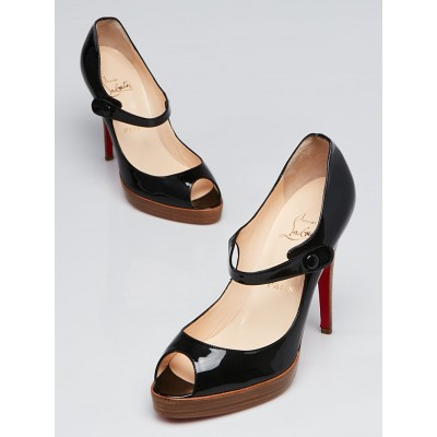 Christian Louboutin Black Patent Leather Peep Toe Mary Janes Pumps Size 9.5/40