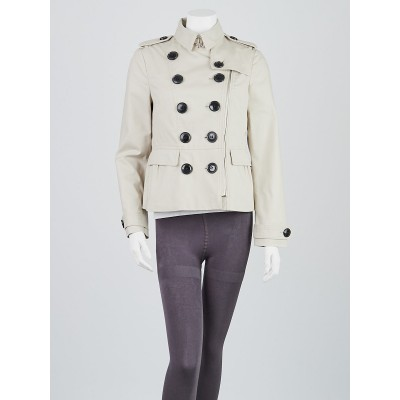 Burberry Beige Cotton Double Breasted Peplum Jacket Size 8