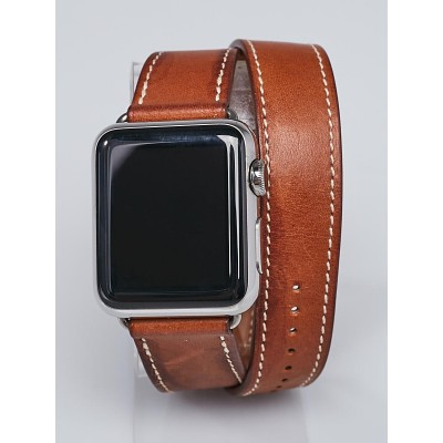 Hermes Brown Leather Double Tour 1st Gen 38mm Apple iWatch