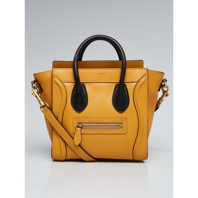 Celine Dark Yellow/Black Smooth Calfskin Leather Nano Luggage Tote Bag