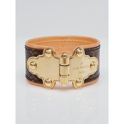 Louis Vuitton Monogram Canvas Save It Cuff Bracelet Size 19