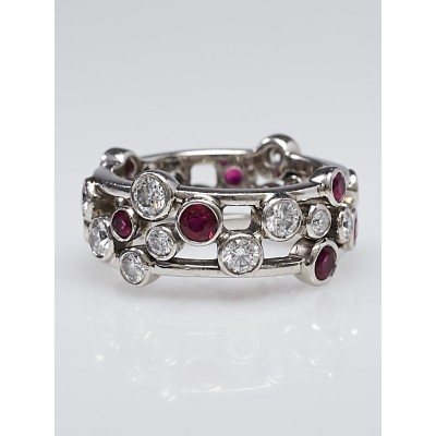 Tiffany & Co. Platinum with Diamond and Ruby Bubbles Ring Size 5