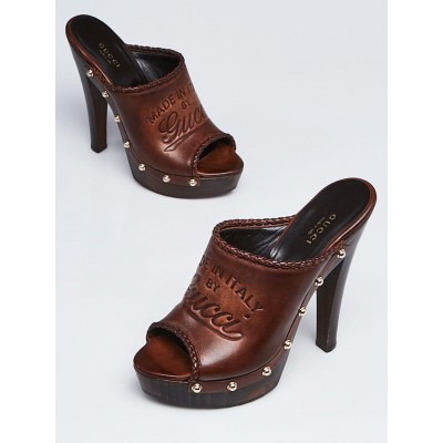 Gucci Brown Studded Leather Open Toe Wooden Sandals Size 7/37.5