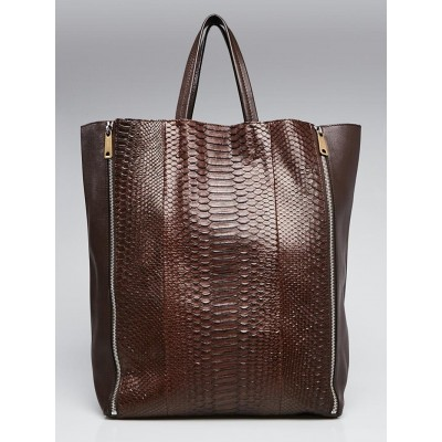 Celine Brown Leather and Python Vertical Gusset Zip Cabas Tote Bag