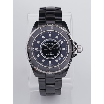 Chanel Black J12 Ceramic and Diamonds 38mm Automatic Watch