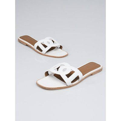Hermes White Leather Omaha Flat Sandals Size 10.5/41