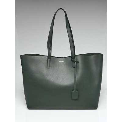 Yves Saint Laurent Dark Green Leather Large Shopping Tote Bag