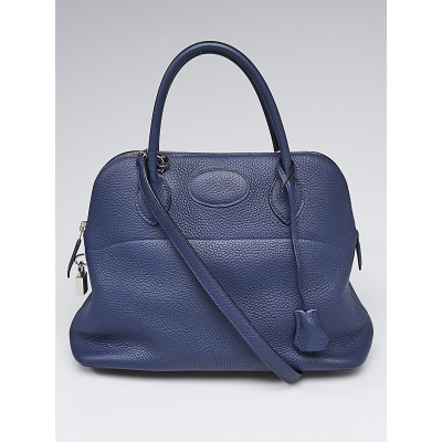 Hermes 31cm Blue Abysse Clemence Leather Palladium Plated Bolide Bag