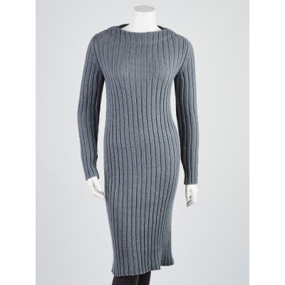 Louis Vuitton Grey Ribbed Wool Long-Sleeve Sweater Dress Size XS