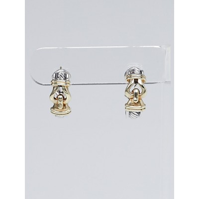 David Yurman Sterling Silver and 14k Gold Cable Buckle Earrings