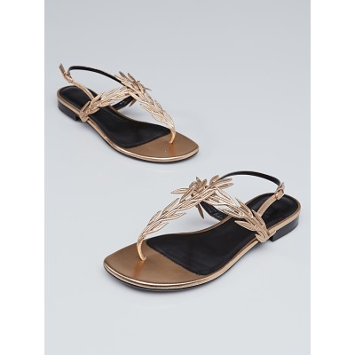 Hermes Rose Champagne Nappa Leather Myrthe T-Strap Sandals Size 6.5/37