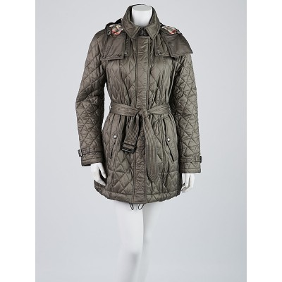 Burberry Mink Grey Quilted Nylon Jacket Size M