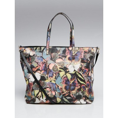 Valentino Multicolor Butterfly Print Leather Camu Tote Bag