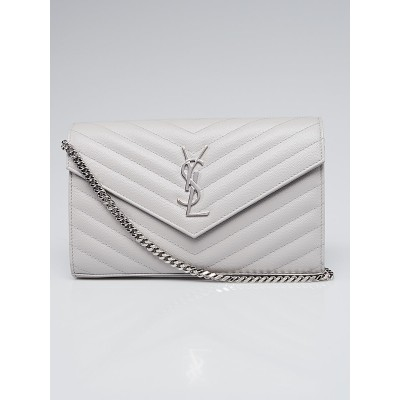 Yves Saint Laurent Grey Chevron Quilted Grained Leather Metalasse Wallet on Chain Bag