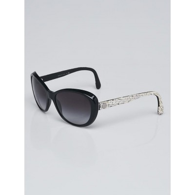 Chanel Black Acetate Frame and Tweed Sunglasses-5241