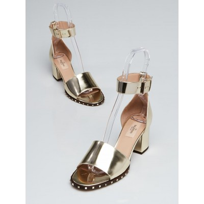 Valentino Gold Patent Leather Ankle Strap Sandal Size 8.5/39