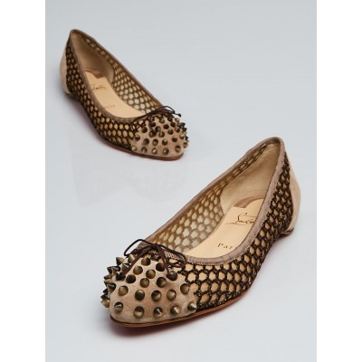Christian Louboutin Brown Suede and Crochet Mix Flat Ballet Flats Size 9/39.5