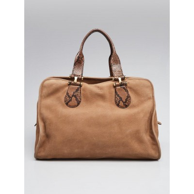 Gucci Tan Twice Suede and Python Top Handle Boston Bag