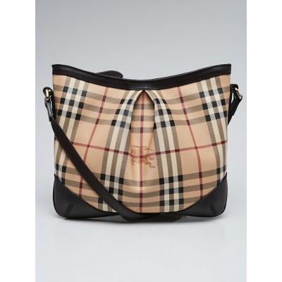 Burberry Chocolate Leather Haymarket Check Coated Canvas Extra Small Hartham Bag