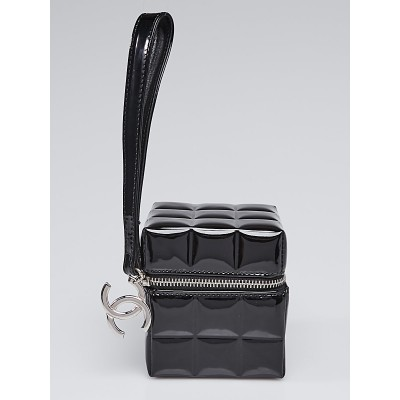 Chanel Black Quilted Patent Leather Rubiks Cube Pouch