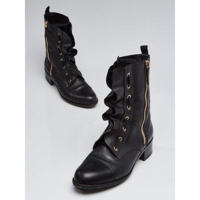 Valentino Black Leather Lace-Up Moto Boots Size 10.5/41