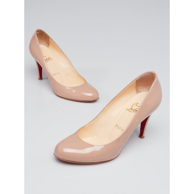 Christian Louboutin Nude Patent Leather Ron Ron 85 Pumps Size 7/37.5