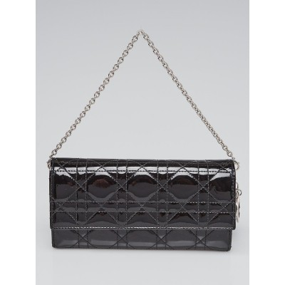 Christian Dior Black Cannage Quilted Patent Leather Rendez-Vous Clutch Bag