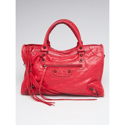 Balenciaga Rouge Cardinal Lambskin Leather Motorcycle City Bag