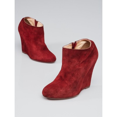 Christian Louboutin Red Suede Belle Zeppa 100 Wedge Ankle Booties Size 6.5/37