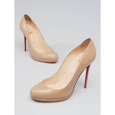 Christian Louboutin Beige Leather Filo 120 Pumps Size 6.5/37