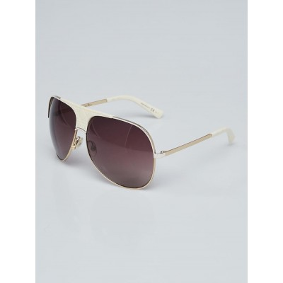 Christian Dior Goldtone Metal and White Acetate My Lady Dior 8 Sunglasses VVPD8