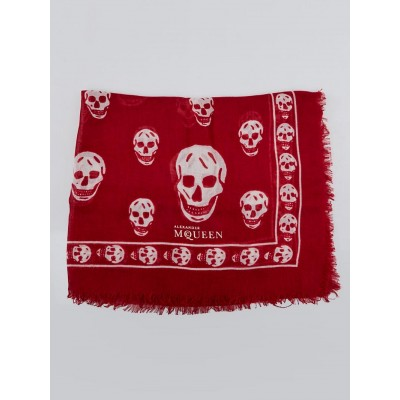 Alexander McQueen Red and White Modal/Silk Skull Scarf