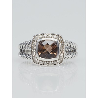 David Yurman 7mm Smoky Quartz with Diamonds and Sterling Silver Albion Ring Size 7.5