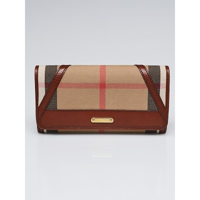 Burberry Brown Leather House Check Canvas Penrose Continental Wallet