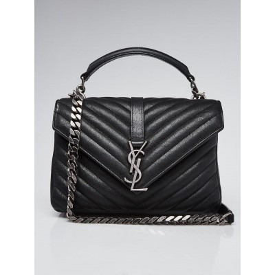 Yves Saint Laurent Black Chevron Quilted Leather Monogram Medium College Bag