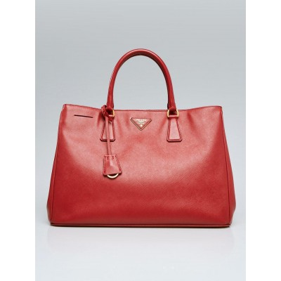 Prada Red Saffiano Lux Leather Large Tote Bag