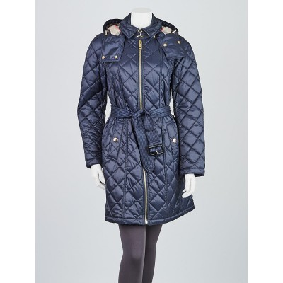 Burberry Blue Quilted Nylon Hooded Jacket Size M