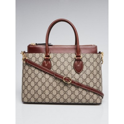 Gucci Beige/Brown GG Supreme Coated Canvas and Leather Small Tote Bag