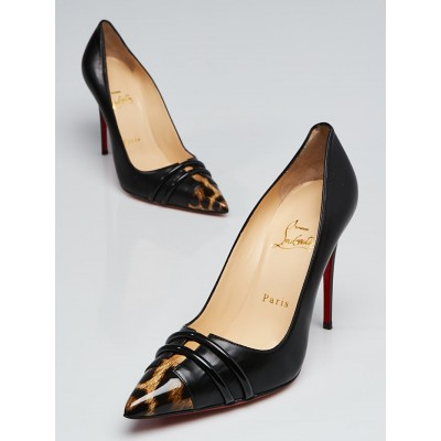 Christian Louboutin Black Leather and Leopard Print Patent Leather Front Double Pumps  Size 7/37.5