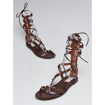 Valentino Brown Leather Rockstud Rolling Gladiator Sandals Size 7.5/38