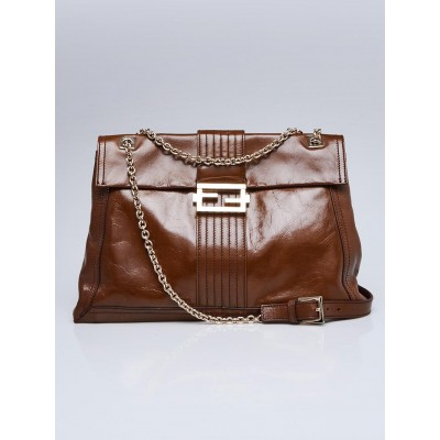 Fendi Brown Leather Maxi Baguette Flap Bag 8BT143