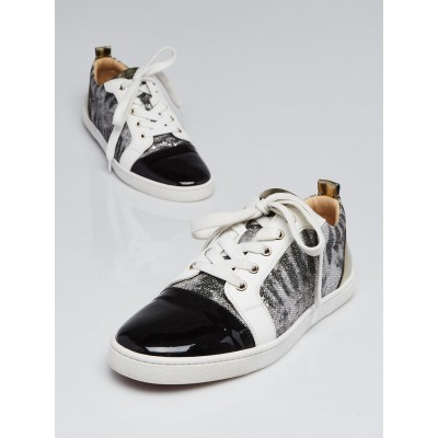 Christian Louboutin Silver Glitter and Black Patent Leather Gondoliere Sneakers Size 9/39.5