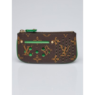Louis Vuitton Limited Edition Green Monogram Perforated Pochette Cles Key and Change Holder