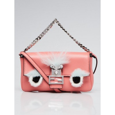 Fendi Pink Nappa Leather and Fox Fur Micro Buggie Baguette Bag 8M0354