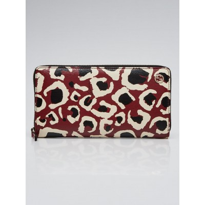 Gucci Red/Black Leopard Print Leather Zippy Long Wallet