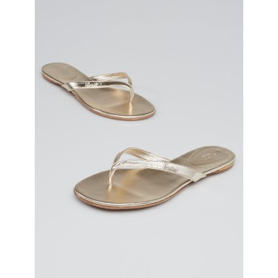 Gucci Gold Leather Elizabeth Flat Thong Sandals Size 8/38.5