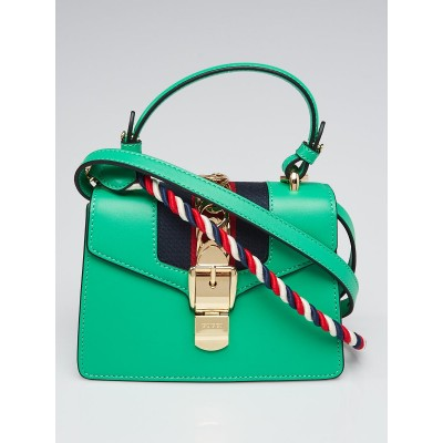 Gucci Green Leather Sylvie Mini Shoulder Bag